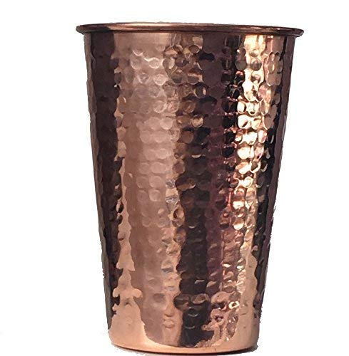 2 Copper Drinking Glasses Hammered Copper (In & Out) 14 oz