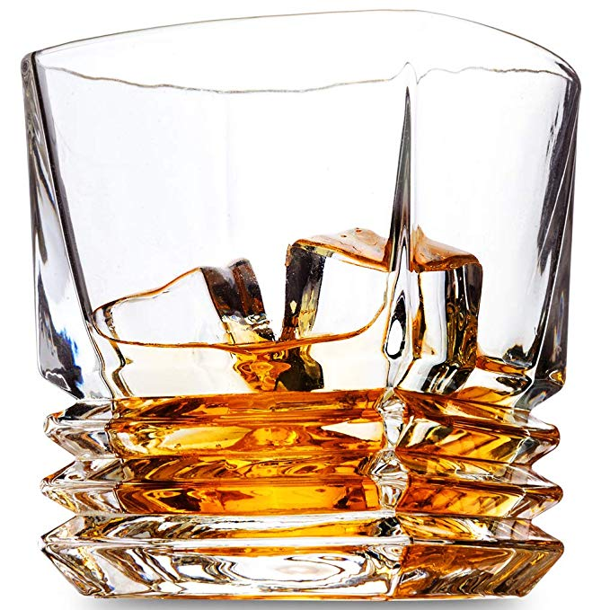 KANARS Ultra-Clarity Lead-Free Crystal Whiskey Glasses - Set Of 4. Old Fashioned Cocktail Glasses for Bourbon Tasting or Scotch Drinking - On The Rocks Glasses