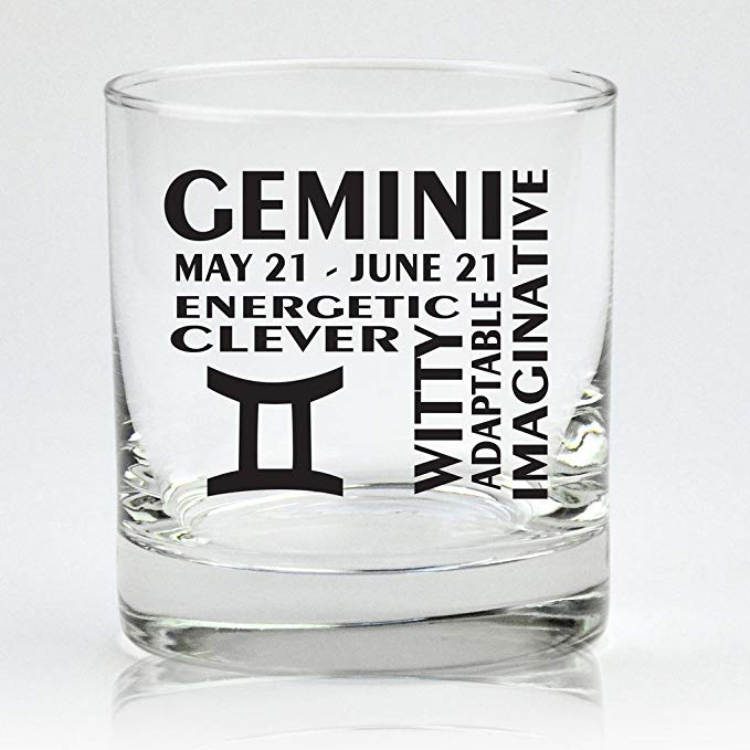 Gemini Zodiac Cocktail Glass
