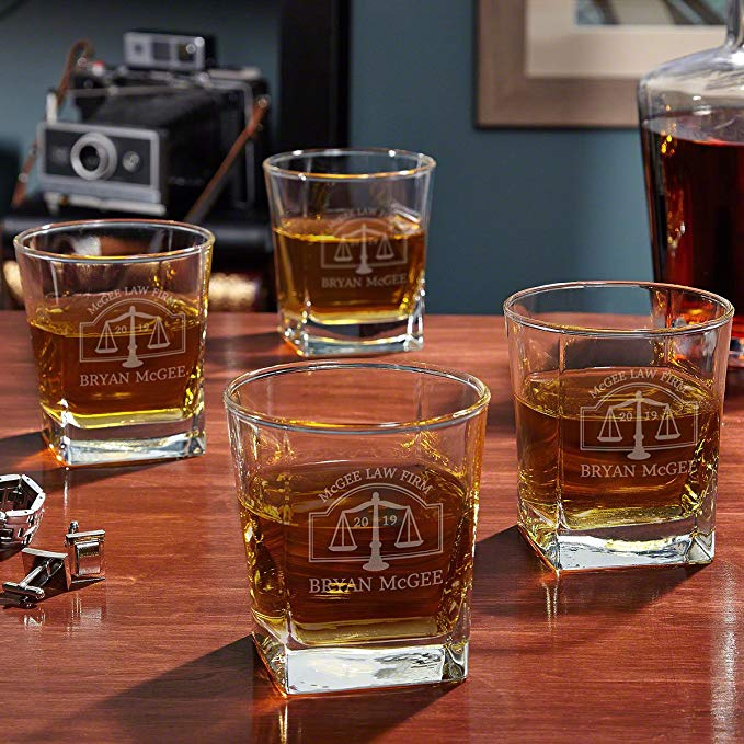 Hamilton Custom Rocks Glasses for Lawyers, Set of 4